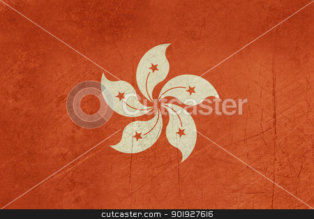 Grunge Hong Kong Flag stock photo, Grunge sovereign state flag of dependent country of Hong Kong in official colors.  by Martin Crowdy