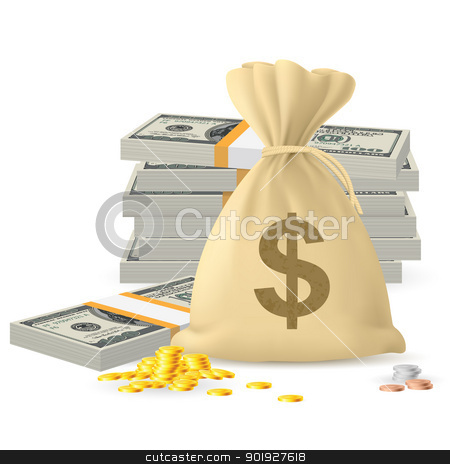 Piles of money stock photo, Piles of money in the form of Cash and Gold coins, with Money sack by dvarg