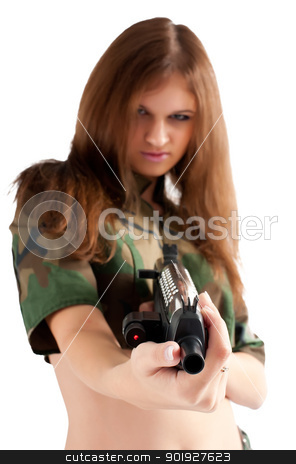 Pretty woman with a gun stock photo, Sexy young woman with a gun isolated on white. Focus on gun by Aikon
