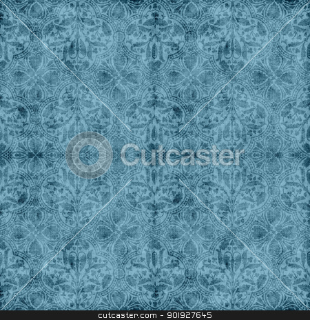 Vintage Blue Floral Tapestry stock photo, Seamless worn blue floral tapestry pattern by SongPixels
