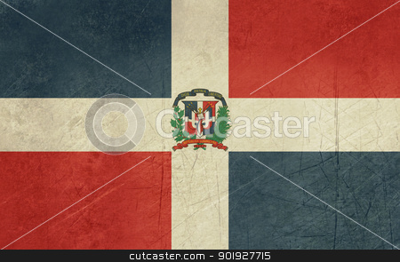 Grunge Dominican Republic flag stock photo, Grunge sovereign state flag of country of Dominican Republic in official colors. by Martin Crowdy