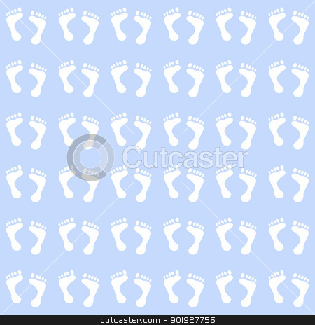 Seamless Baby Feet on Pastel Blue stock photo, Baby footprints in white on blue by SongPixels