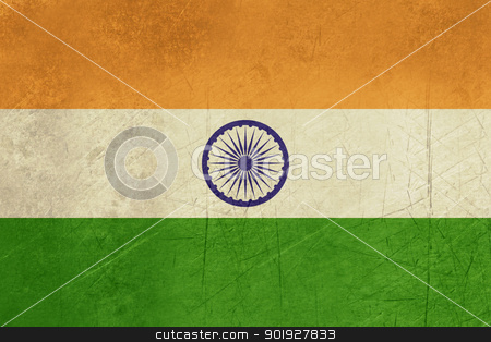 Grunge India Flag stock photo, Grunge sovereign state flag of country of India in official colors. by Martin Crowdy