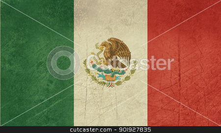 Grunge Mexico Flag stock photo, Grunge sovereign state flag of country of Mexico in official colors. by Martin Crowdy
