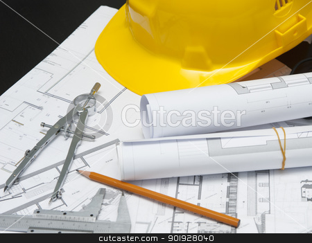 safety architect building site stock photo, architect safety helmet and projects by tommaso79