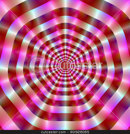 Pink and White Rings stock photo, Digital abstract image with a radiating circle design in pink, red and white. by Colin Forrest