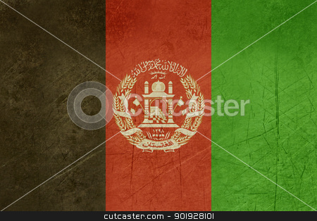 Grunge Afghanistan Flag stock photo, Grunge sovereign state flag of country of Afghanistan in official colors. by Martin Crowdy