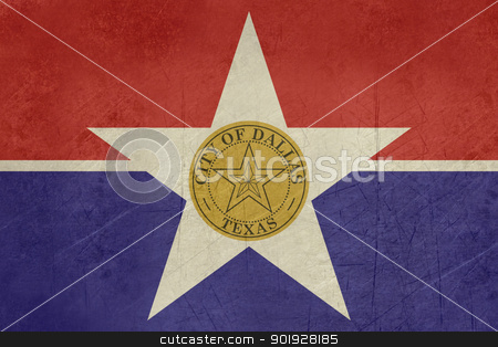 Grunge Dallas city flag stock photo, Grunge flag of Dallas city,Texas in the U.S.A  by Martin Crowdy
