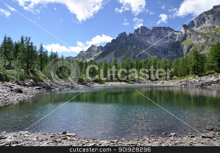 Alpine lake panorama stock photo, A view of Lago Nero, small alpine lake, Devero Park, Italy by Roberto Marinello