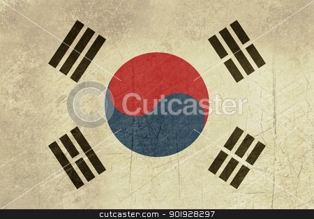 Grunge South Korea flag stock photo, Grunge sovereign state flag of country of South Korea in official colors. by Martin Crowdy