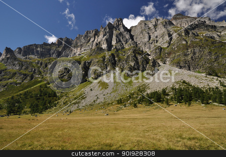 High Mountain landscape stock photo, Summertime green mountain landscape in the Alps with peaks, Alpe Buscagna, Devero, Italy. by Roberto Marinello