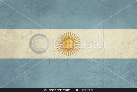 Grunge Argentina Flag stock photo, Grunge sovereign state flag of country of Argentina in official colors. by Martin Crowdy