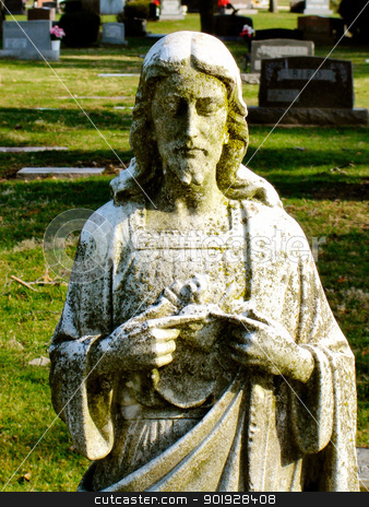 Statue jesus with moss stock photo,                                 by Liane Harrold
