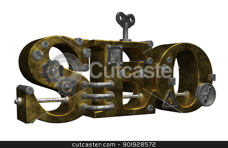 steampunk seo stock photo, retro industrial letters seo on white background - 3d illustration by J?