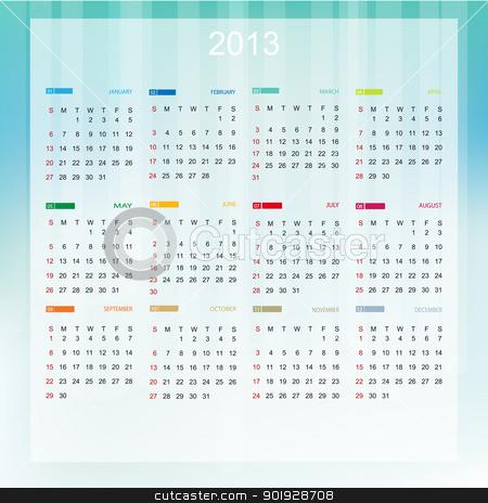 Vector Calendar 2013 stock vector clipart, Vector Calendar 2013 by Erdem