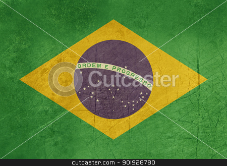 Grunge Brazil flag stock photo, Grunge sovereign state flag of country of Brazil in official colors. by Martin Crowdy