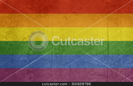 Grunge gay Pride flag stock photo, Grunge gay pride flag in the official colors. by Martin Crowdy