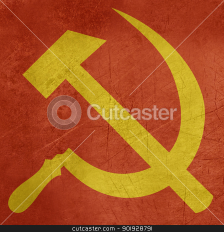 Grunge Hammer and Sickle stock photo, Grunge Russian or Communist hammer and sickle sign or flag. by Martin Crowdy