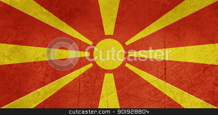 Grunge Macedonia Flag stock photo, Grunge sovereign state flag of country of Macedonia in official colors. by Martin Crowdy