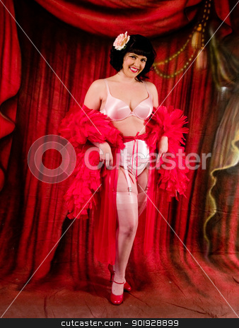 Lovely Latina Performer stock photo, Beautiful Burlesque Dancer in front of a red curtian by Cora Reed
