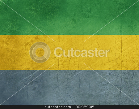 Grunge Gabon Flag stock photo, Grunge sovereign state flag of country of Gabon in official colors. by Martin Crowdy