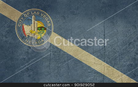 Grunge Las Vegas city flag stock photo, Grunge flag of Las Vegas city, Nevada, in the U.S.A  by Martin Crowdy