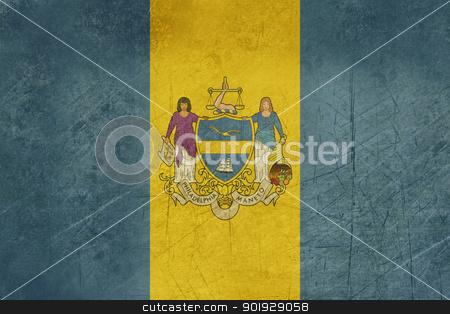 Grunge Philadelphia city flag stock photo, Grunge flag of Philadelphia city in the U.S.A  by Martin Crowdy
