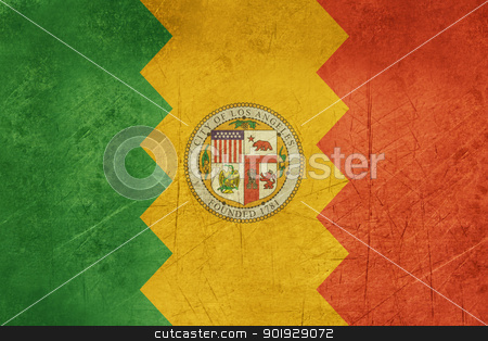 Grunge Los Anglese city flag stock photo, Grunge flag of Los Anglese city in the U.S.A  by Martin Crowdy