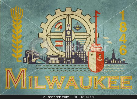 Grunge Milwaukee flag stock photo, Grunge flag of Millwaukee city in the U.S.A  by Martin Crowdy