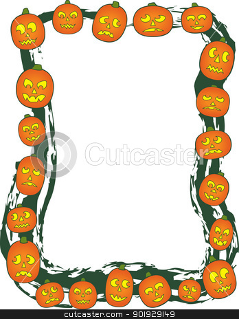 Jack O Lantern Border stock vector clipart, A border comprised of Jack O Lanterns of various sizes and carved faces. by Jamie Slavy