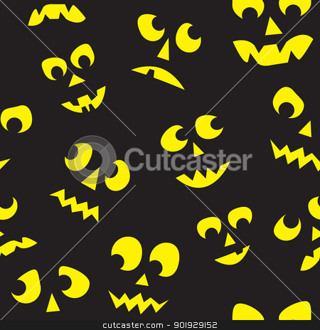 Seamless Halloween Lit Faces stock vector clipart, A seamless pattern of lit Jack O Lantern faces surrounded by darkness. by Jamie Slavy