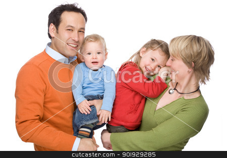 Happy family stock photo, Full isolated studio picture from a young and happy family by Picturehunter