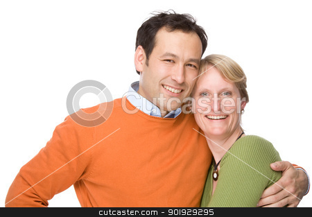 Young couple stock photo, Full isolated studio picture from a young and happy couple by Picturehunter