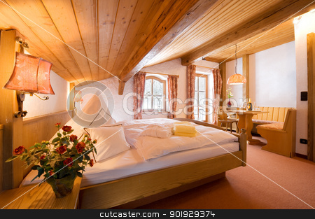 Hotel room stock photo, Interior of a hotel room by Picturehunter