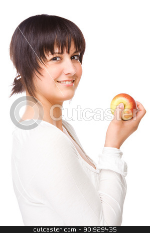 Woman with apple stock photo, Full isolated portrait of a beautiful caucasian woman with apple by Picturehunter