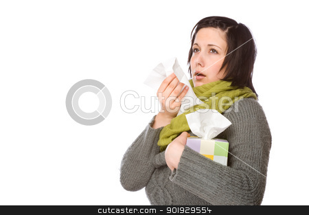 Woman With Handkerchief stock photo, Full isolated portrait of a beautiful caucasian woman with a handkerchief by Picturehunter
