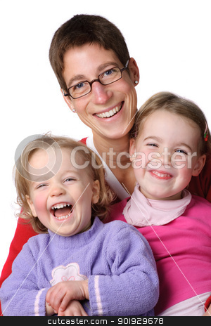 Mother with children stock photo, Full isolated studio picture from a young mother with her two children by Picturehunter