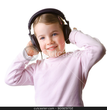 Child with headset stock photo, Full isolated studio picture from a little girl listen to the music by Picturehunter