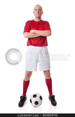 Soccer player stock photo, Full isolated studio picture from a young soccer player with ball by Picturehunter