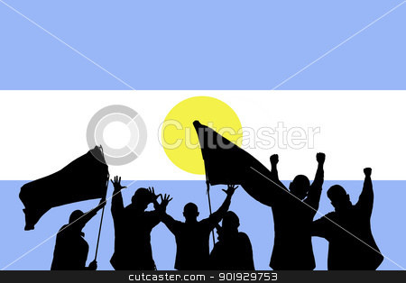 Sport fans stock photo, Silhouette from some sport fans in front of the flag from argentina by Picturehunter