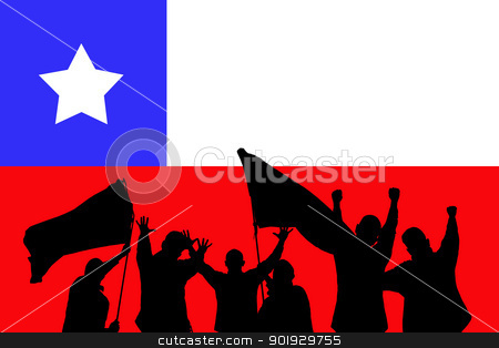 Sport fans stock photo, Silhouette from some sport fans in front of the flag from chile by Picturehunter