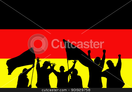 Sport fans stock photo, Silhouette from some sport fans in front of the flag from germany by Picturehunter