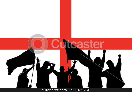 Sport fans stock photo, Silhouette from some sport fans in front of the flag from england by Picturehunter