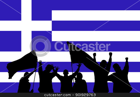 Sport fans stock photo, Silhouette from some sport fans in front of the flag from greece by Picturehunter