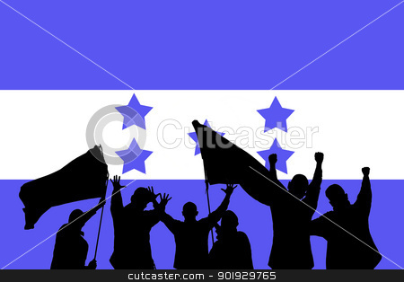 Sport fans stock photo, Silhouette from some sport fans in front of the flag from honduras by Picturehunter