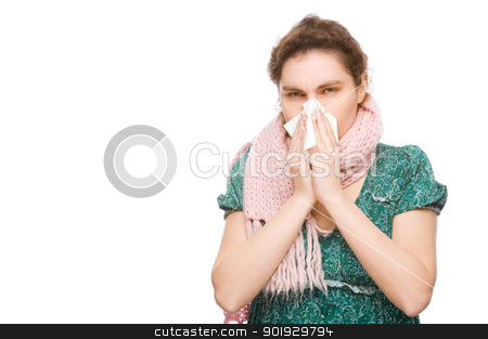 Woman with handkerchief stock photo, Full isolated portrait of a woman with a handkerchief by Picturehunter