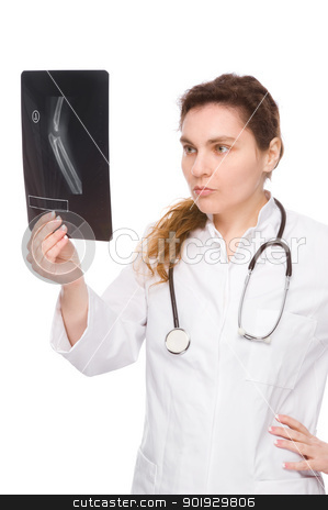 Doctor stock photo, Full isolated portrait of a doctor with x-ray by Picturehunter
