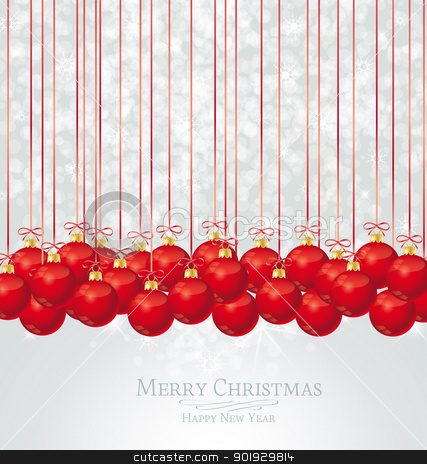 Christmas balls stock vector clipart, Christmas decoration red balls with place for text by Miroslava Hlavacova