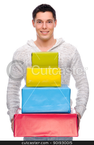 Man with presents stock photo, Full iolated studio picture from a young man with some presents by Picturehunter