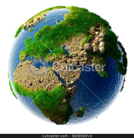 Detailed concept nature of the Earth in miniature stock photo, Detailed concept nature of the Earth in miniature - sandy deserts, rocky mountains, grass and the ocean water is based on real physical data. Isolated on white by Antartis